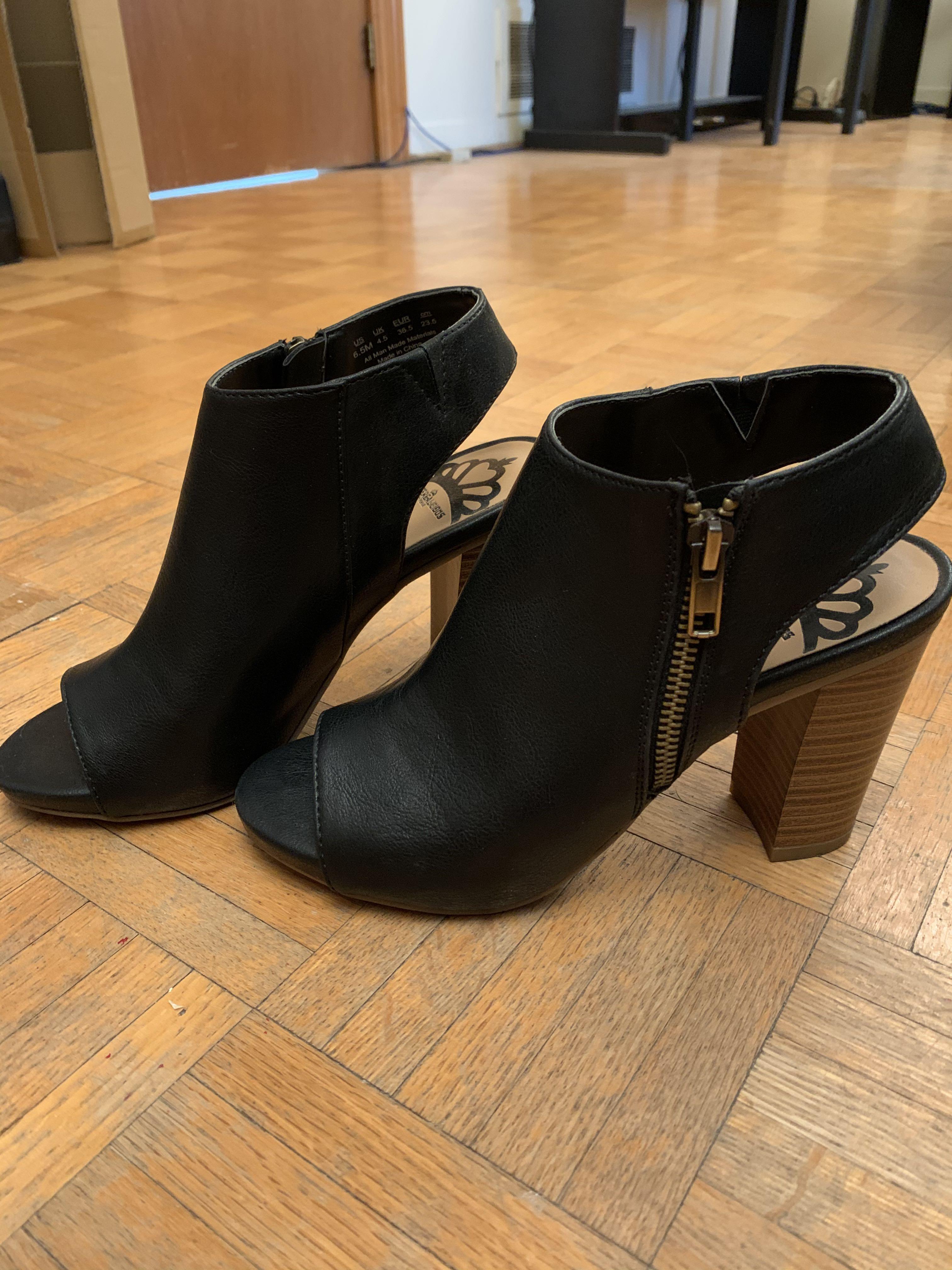 Fergalicious Open Toe Black Heels Size 6.5