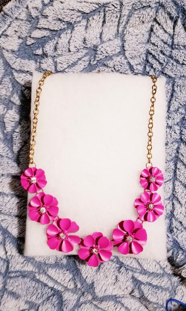 Fuscia Flowers Statement Necklace