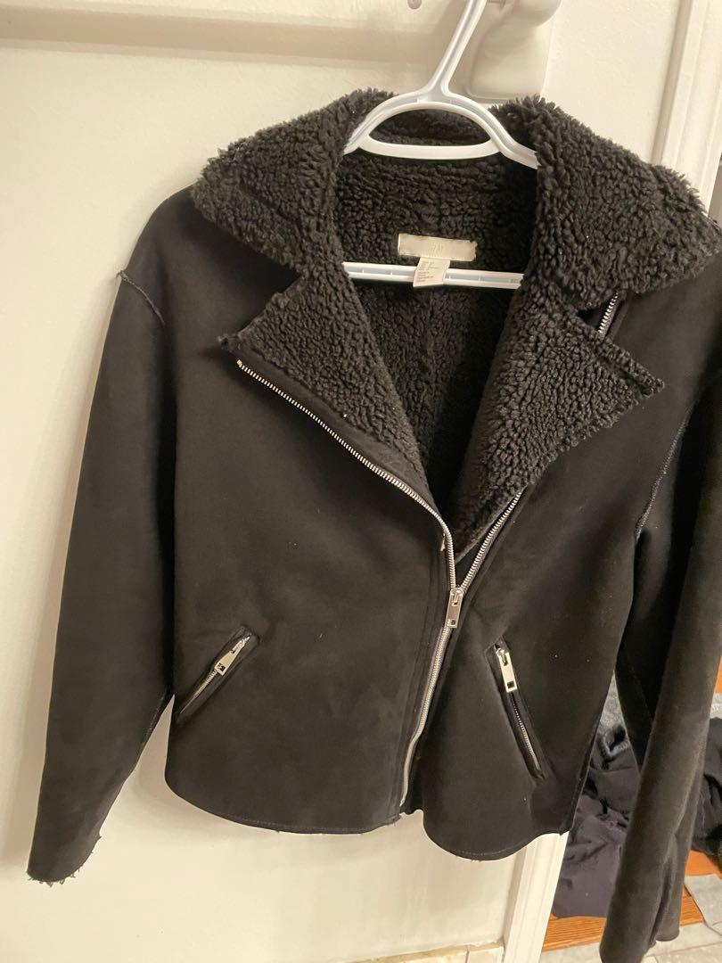 H&M suede biker Sherpa jacket