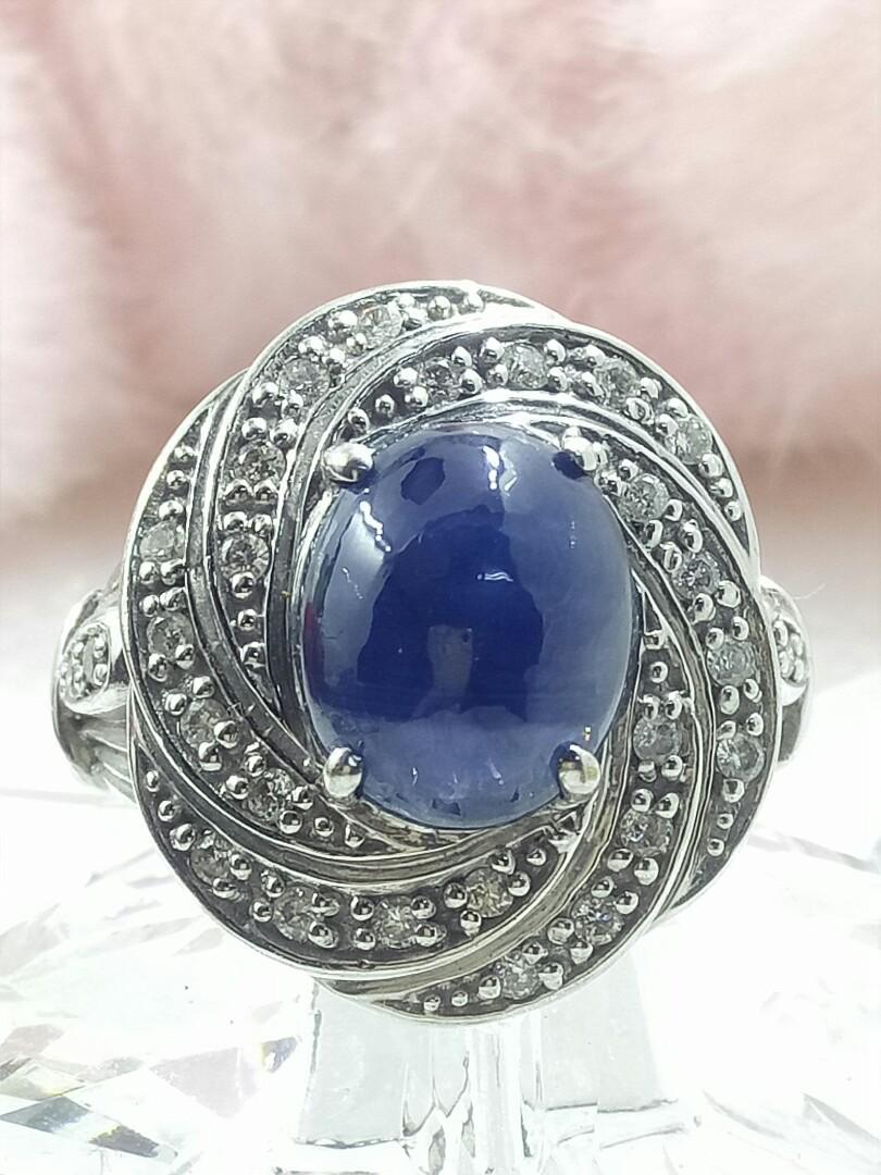 天然藍寶鑲鑽K金戒指