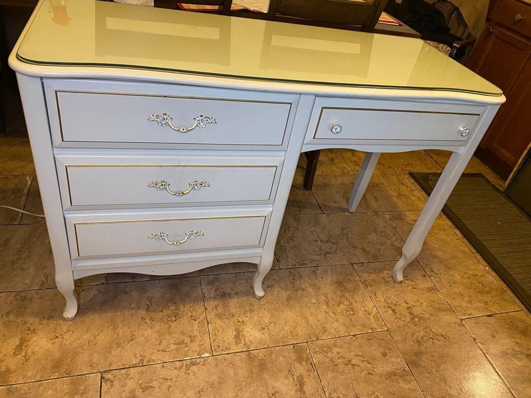 SALE: Beautiful Vintage French Provincial Desk with custom protective glass