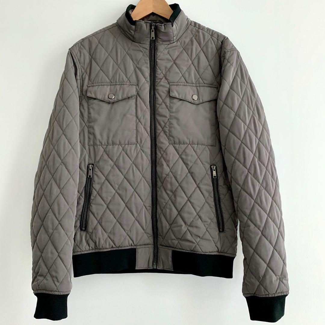 Zara Men's Quilted Bomber Jacket