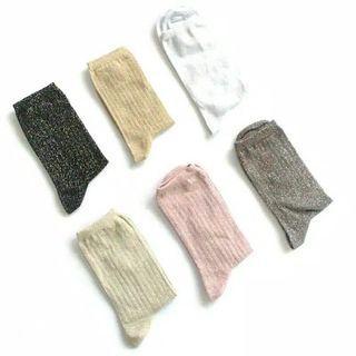 12 pasang kaos kaki panjang glitter wanita