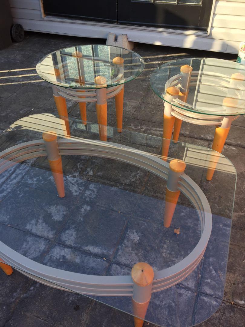 3pc glass coffee table set