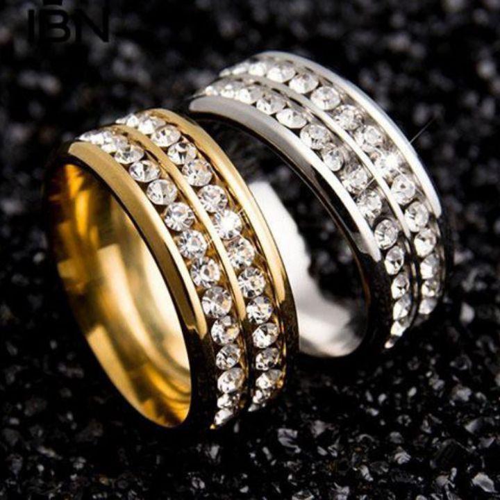 全新鈦鋼雙排鑲鑽戒指 7.8.9