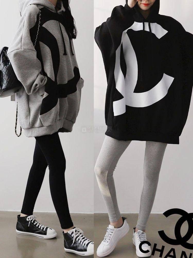 正韓上衣  #正韓大尺碼  小香LOGO連帽寬版鋪棉上衣