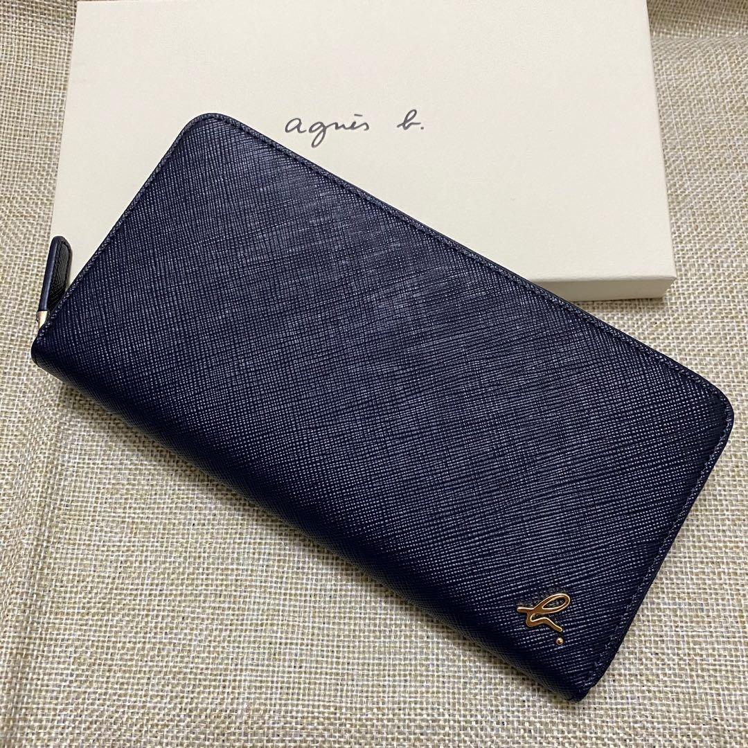 全新 agnes b 新版 深藍色 藍色 草寫 b 防刮 ㄇ型 長夾 拉鍊 拉鏈 牛皮 保證真品 正品 女用 皮夾 小b