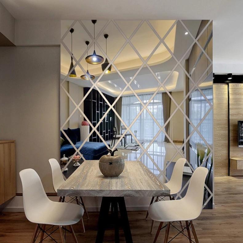 Acrylic Diamond and Triangle Shaped Mirror Wall Decoration Stickers 100*100cm (58 pieces)