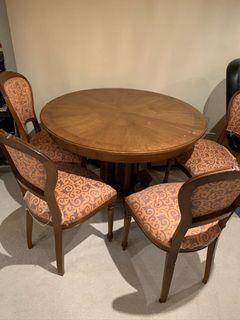 Antique table and chairs solid wood