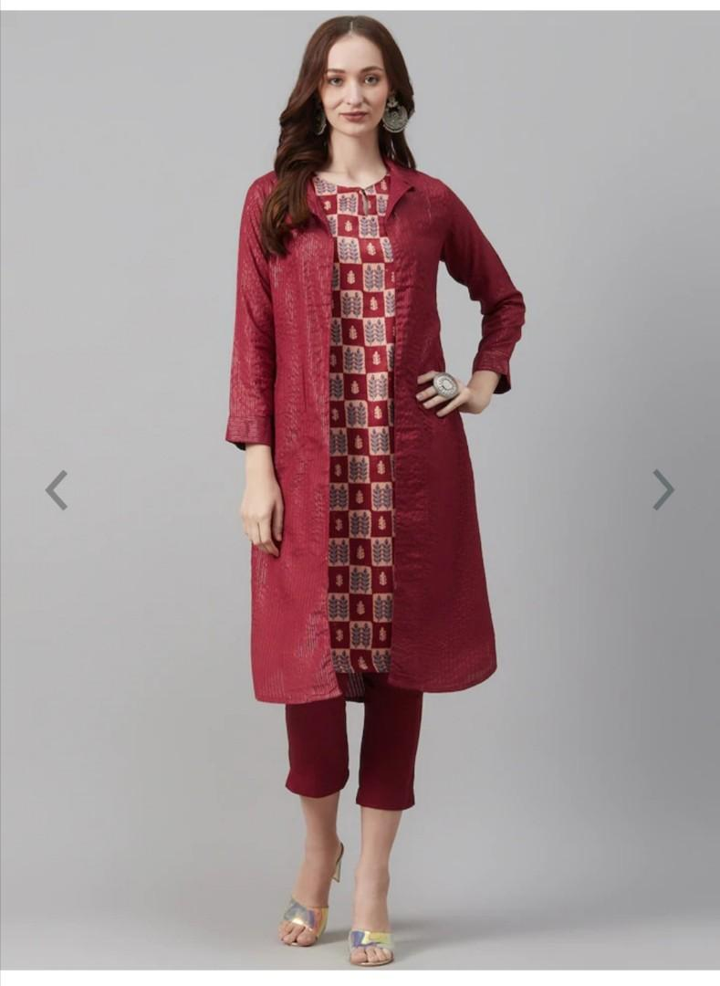 Biba Women Maroon & Beige Printed Kurta with Trousers & Shrug, Product Code: 12637036