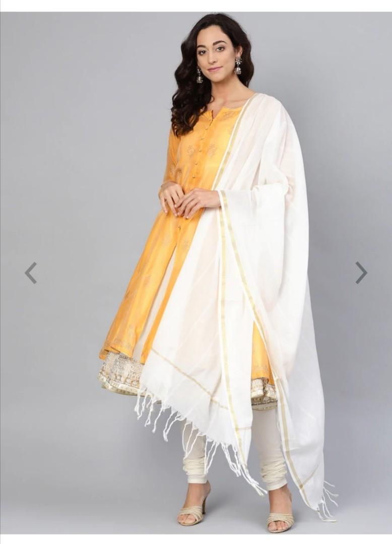 Biba Women Mustard Yellow & Off-White Printed Kurta with Churidar & Dupatta, Product Code: 10452540