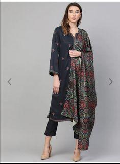 Biba Women Navy Blue & Pink Embroidered Kurta with Trousers & Shawl, Product Code: 10453114