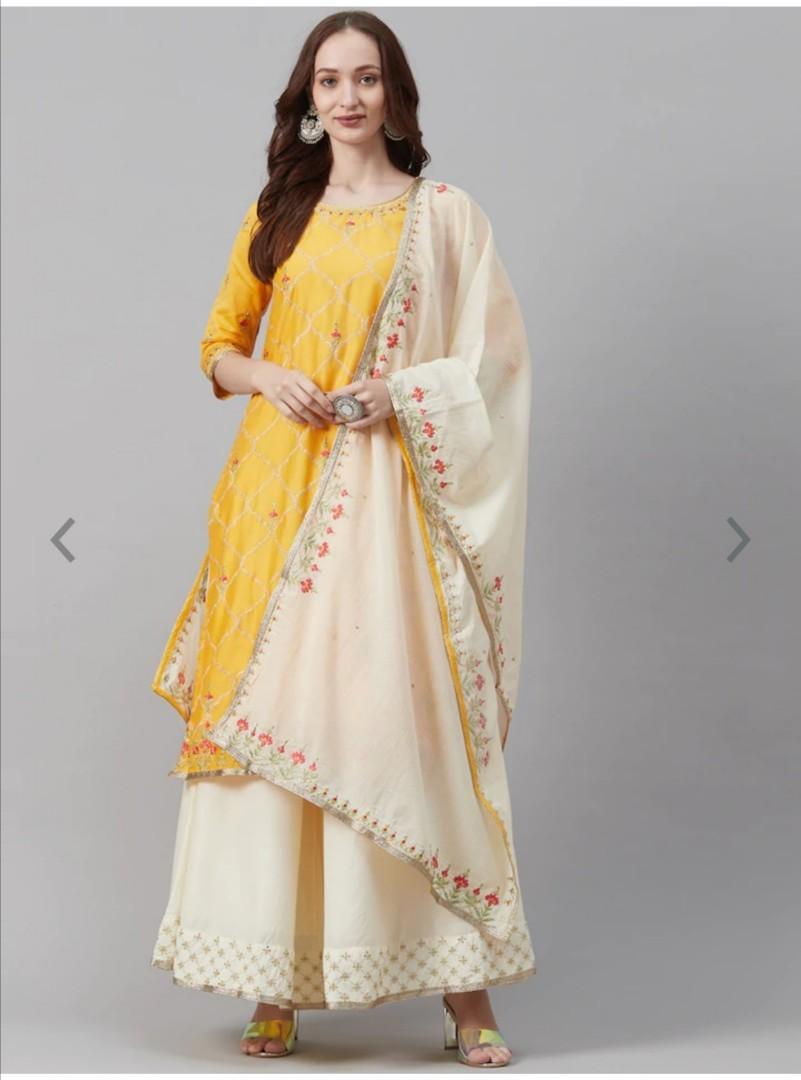 Biba Women Yellow & White Embroidered Kurta with Palazzos & Dupatta, Product Code: 12637214