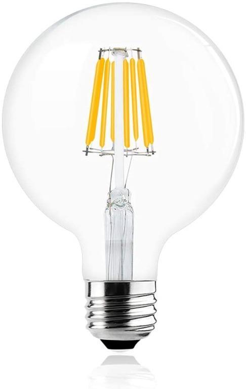 Bonlux Vintage Dimmable Led Filament Bulb G40 8w Led Light Bulb G125 Medium Screw E26 E27 Base Clear Warm White 2700k Led Edison Bulb 75 Watt Incandescent Replacement Furniture Home Decor Lighting