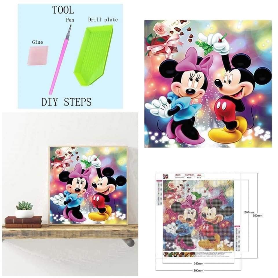 DIY diamond painting hiasan dinding Mickey amd Minnie