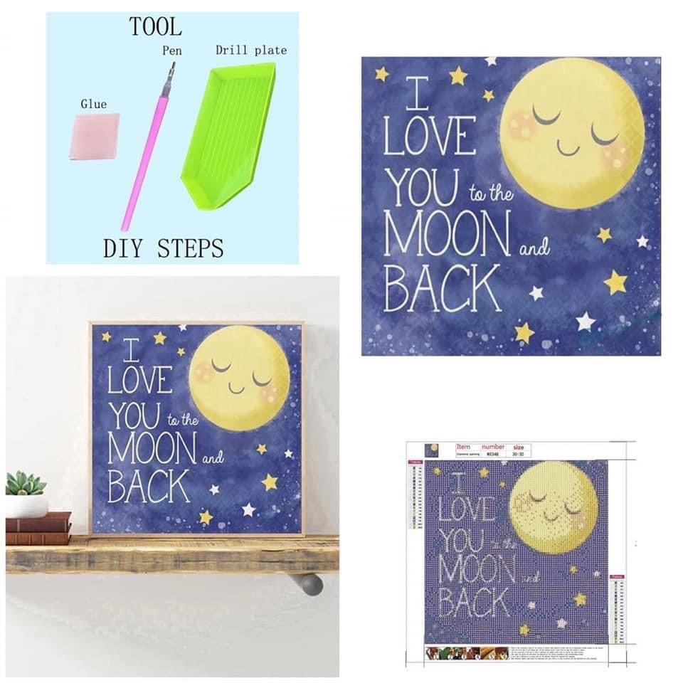 DIY diamond painting hiasan dinding I Love you to the moon