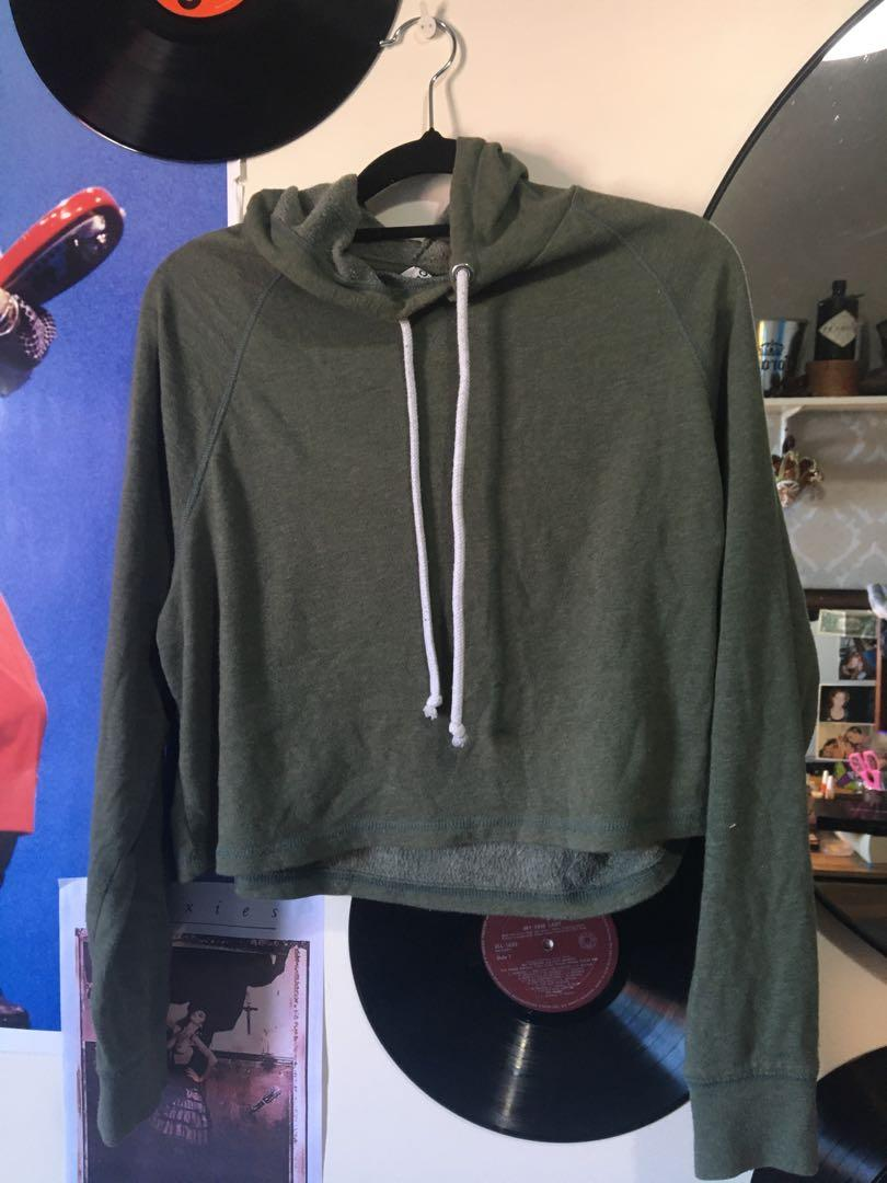 Green cropped hoodie- size M