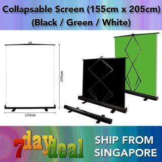 HoliCRAFT Collapsable Black / White / Green Projector Screen Pull-up Chromakey Panel Background (205cm x 155cm) - Like Elgato