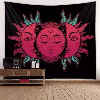 小預算佈置術紅太陽神北歐裝飾牆壁掛布壁畫直播背景微裝潢IG風網紅拍照