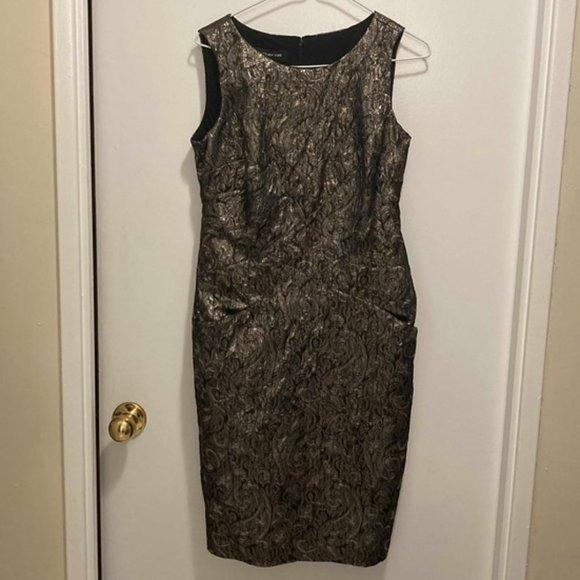Jones New York Round Neck Silver Dress