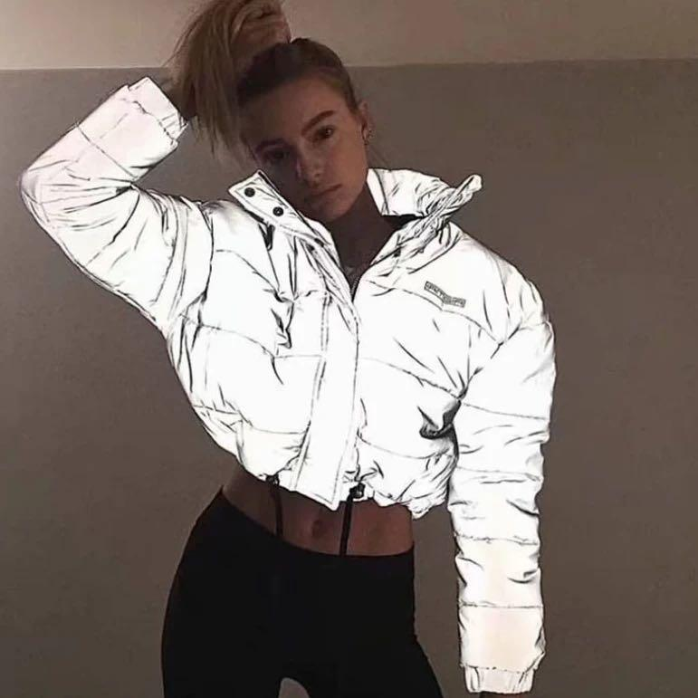 Reflective bomber jacket size small
