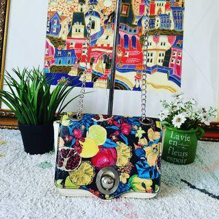 SALE Tas ZARA Floral Silver Chain Sling Cross Bag Authentic #Sale Lebaran