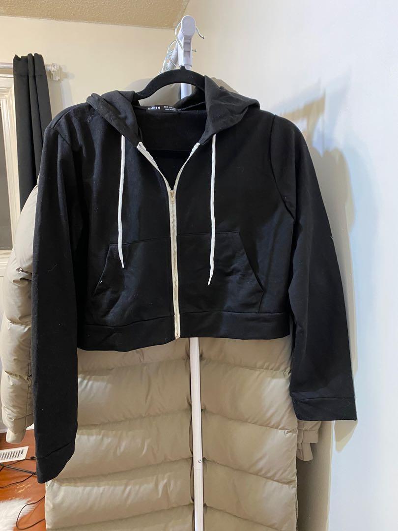 SheIn Black cropped hoodie