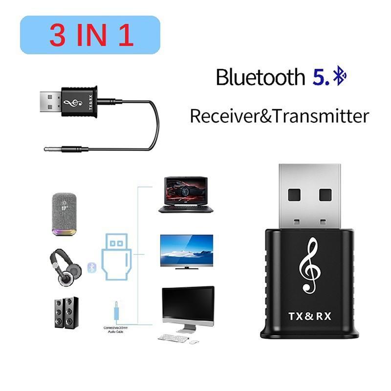 三合一USB藍牙發射器接收器5.0電腦電視音箱車載無線藍牙適配器