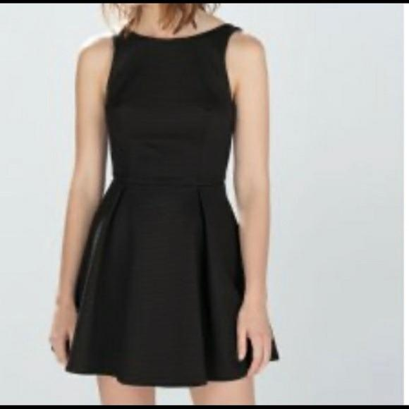 Zara A-Line Textured Short Dress with Low Back