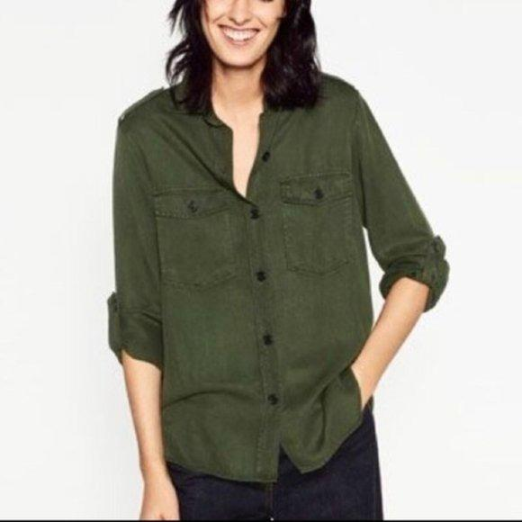Zara Army Denim Button Up Shirt
