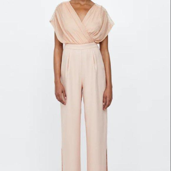 Zara Mixed Lace Jumpsuit NWT