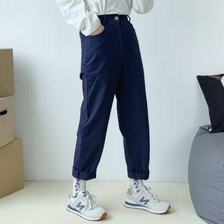 日系直筒素面工作褲