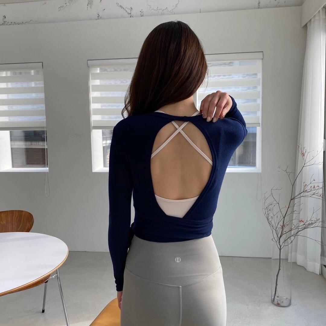 正韓(韓國空運回台) 運動健身/瑜珈系列 -摟空綁帶設計前後兩穿薄款罩衫外套