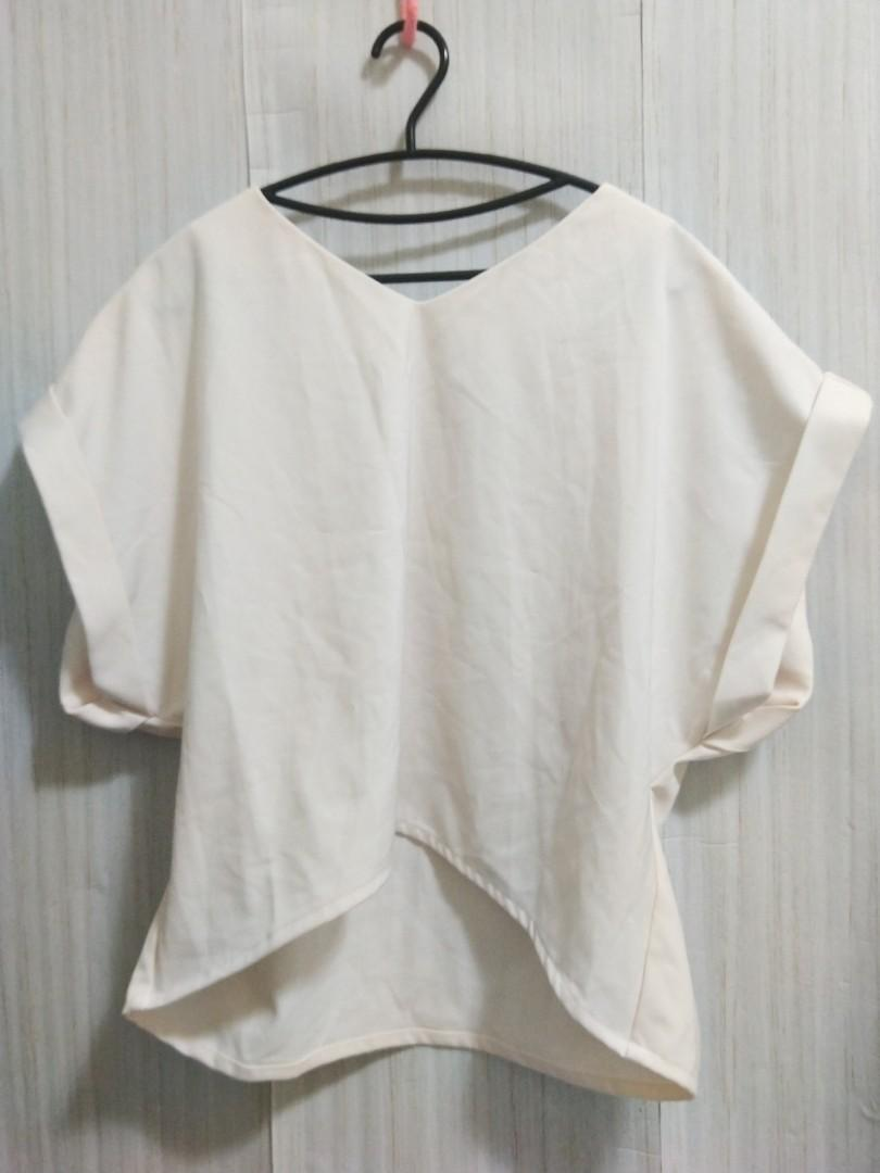 🎁免費送🎁厚磅 雪紡 日貨 米白色 上衣(L-大L)