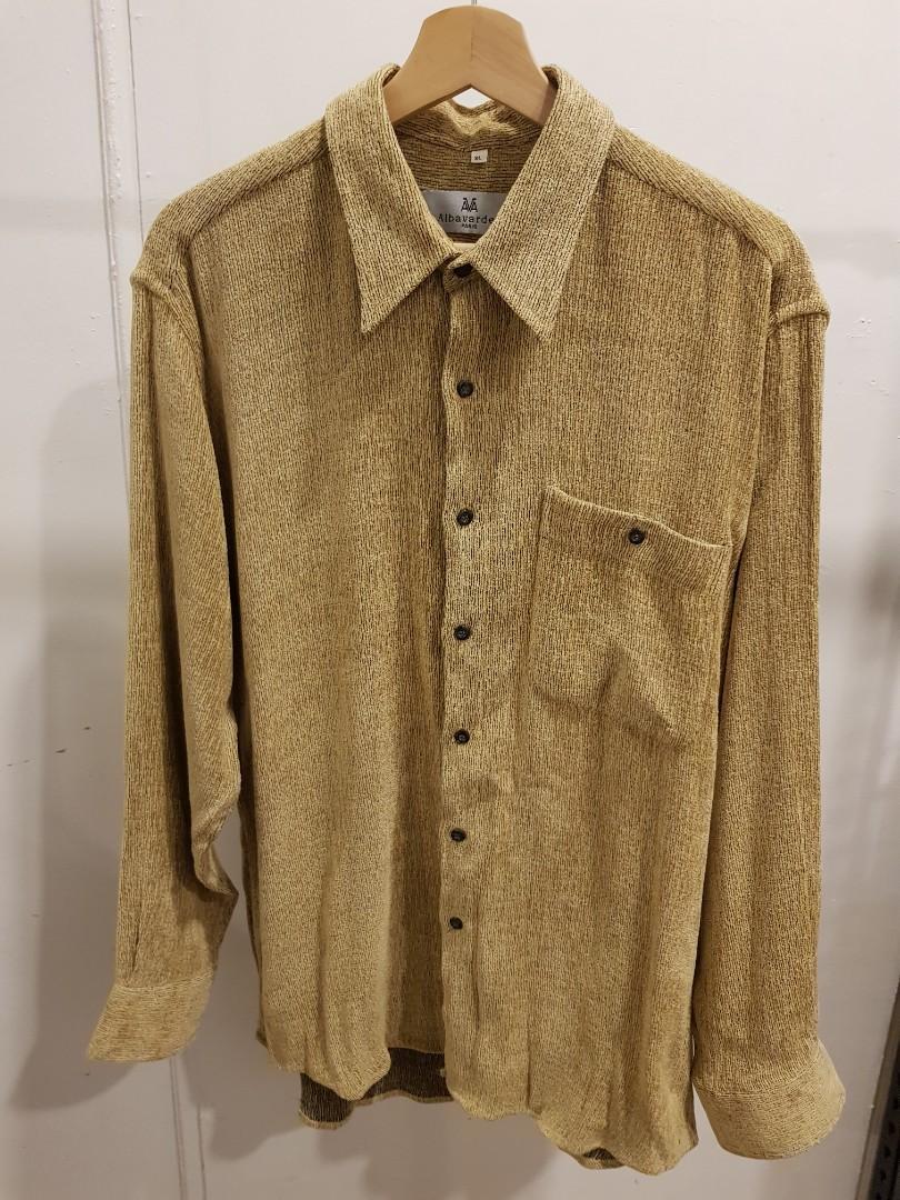 古著 法國品牌 Albavarden  毛呢 長袖襯衫XL號 9成新