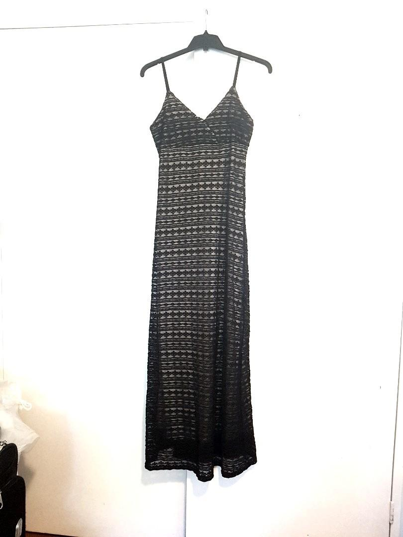 Black Lace gown long dress formal wedding prom gala