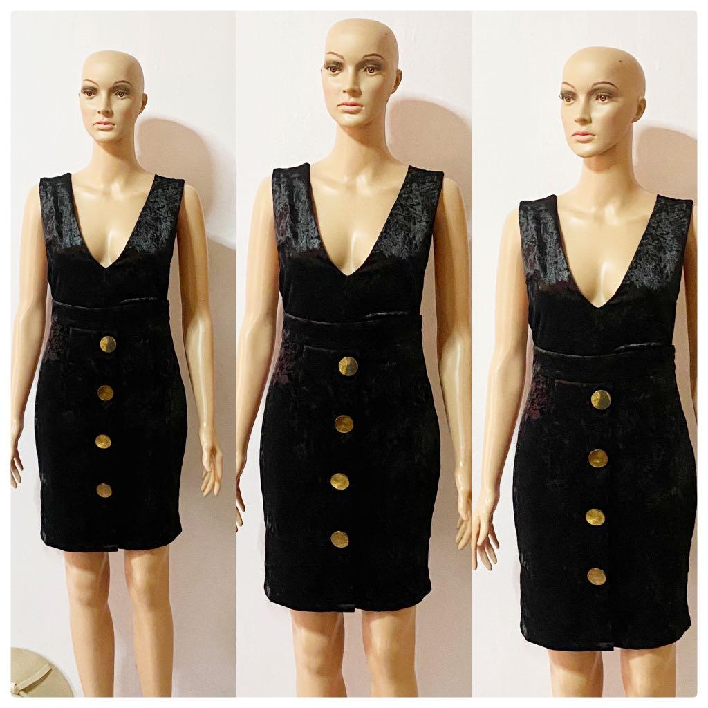 Black Velvet Dress With Big Buttons Women S Fashion Clothes Dresses Skirts On Carousell