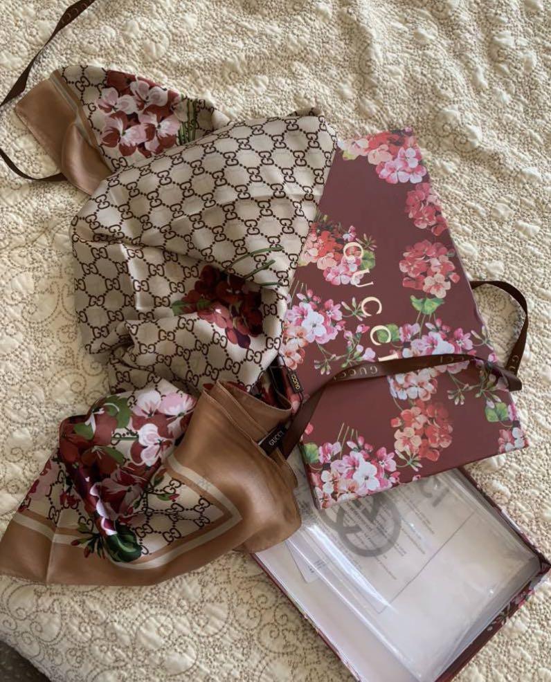 Cream floral silk scarf