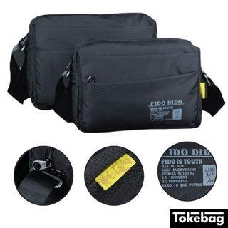 FIDO DIDO Lightweight Waterproof Anti Scratch Sling Bag Black Small Large