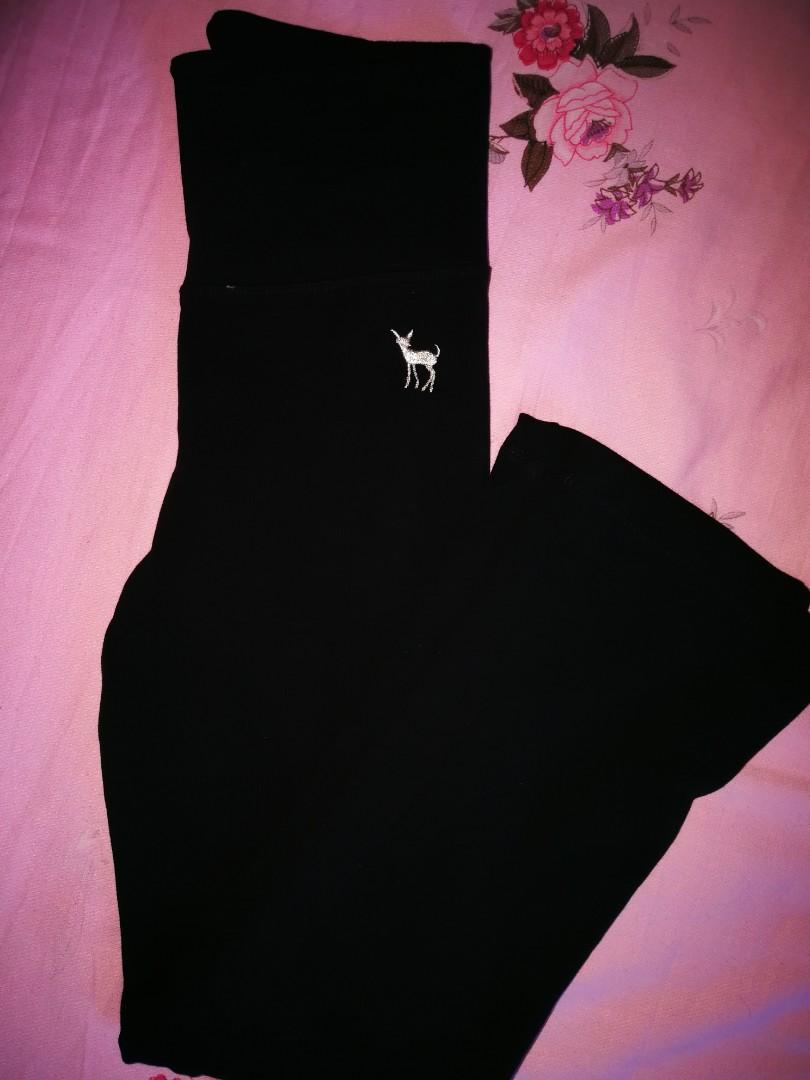 High waisted black wide leg yoga pants