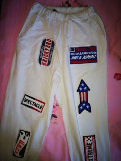 High waisted patchwork sweatpants
