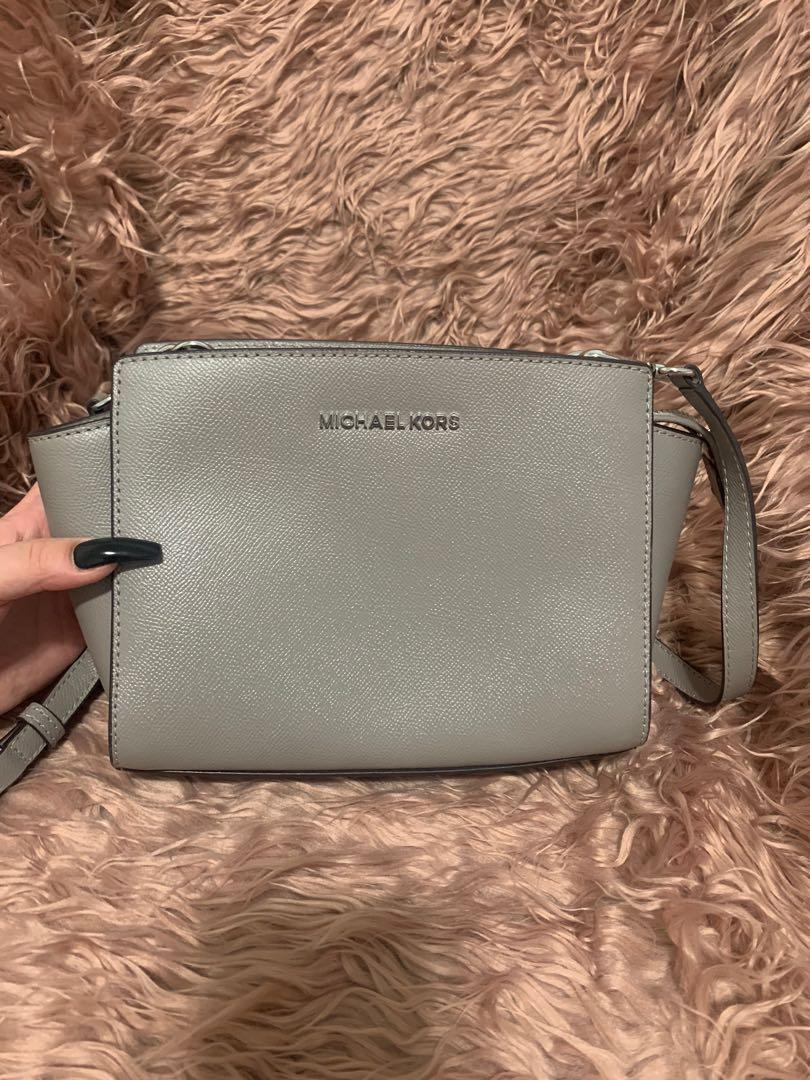 MK Micheal Kors Grey leather Selma Zip Satchel Crossbody Handbag Bag Truffle