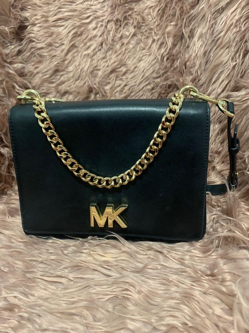 MK Micheal Kors Mott Chain Shoulder Bag Black