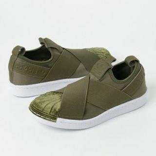 Olive Green Adidas Superstar Slip On