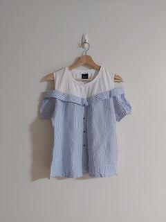 設計師品牌Raeve 露肩直條紋拼接上衣