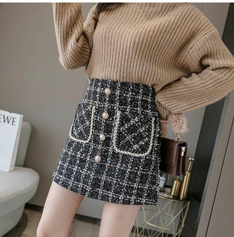 Tweed wool mini skirt S/M
