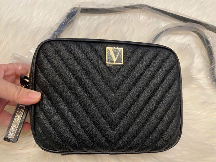Victoria's Secret維多利亞的秘密,黑色斜紋斜背包