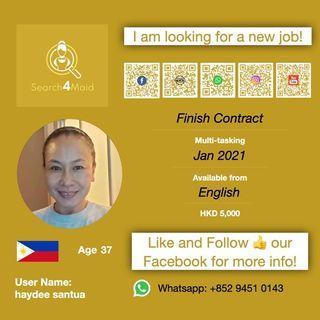 本地完約 請工人姐姐 Domestic Helper / Search4maid User Name: haydee santua / 2021 一月