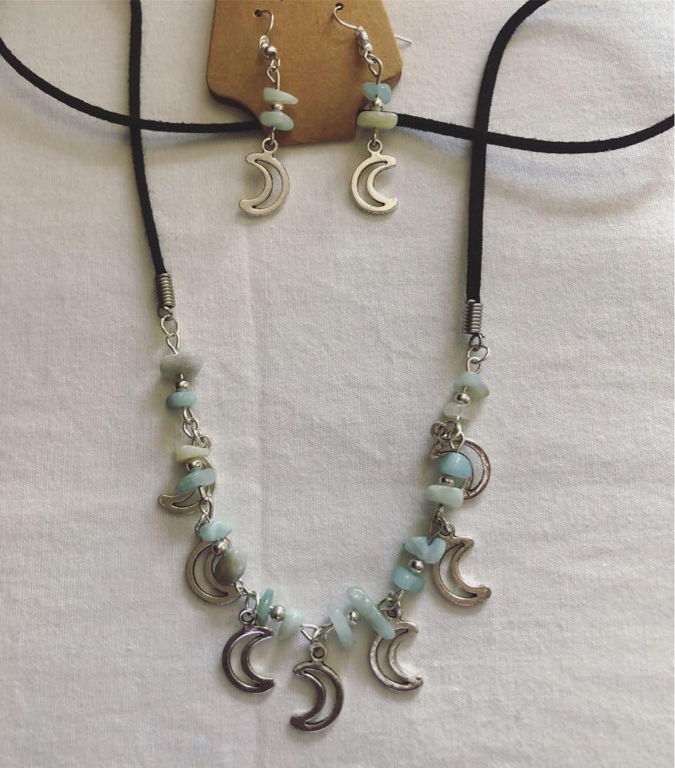 Amazonite and aventurine long necklace set