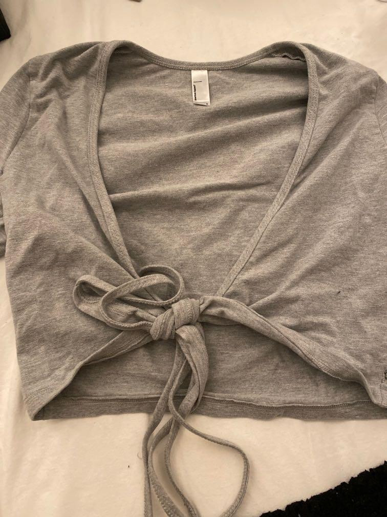 american apparel grey tie front top